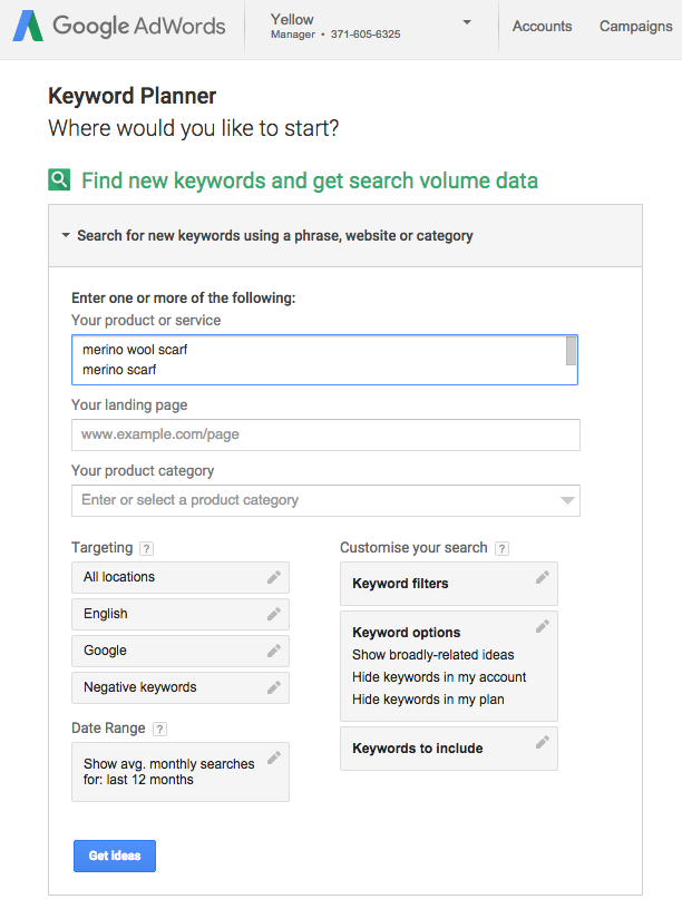 adwords keyword planner screenshot
